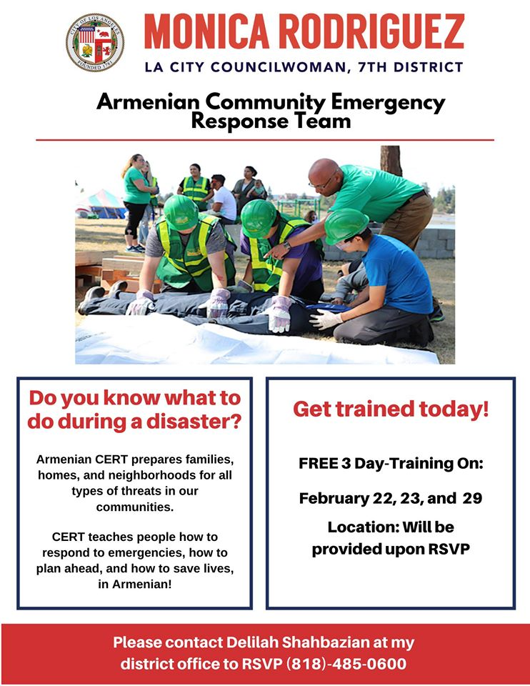 Councilwoman Monica Rodriguez - 3 Day Armenian CERT Training