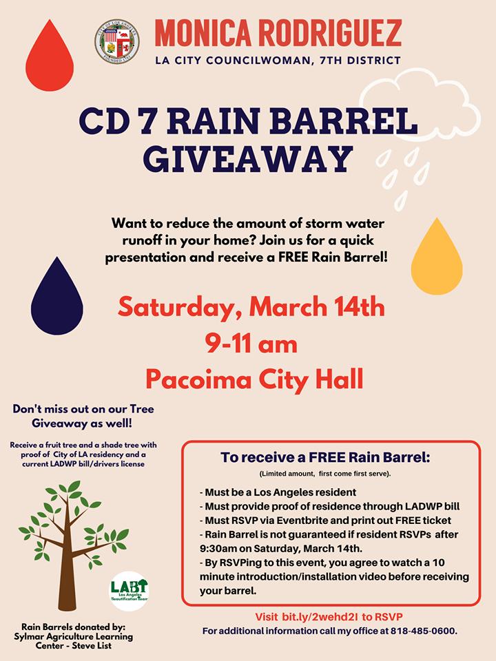 Councilwoman Monica Rodriguez - CD 7 Rain Barrel Giveaway