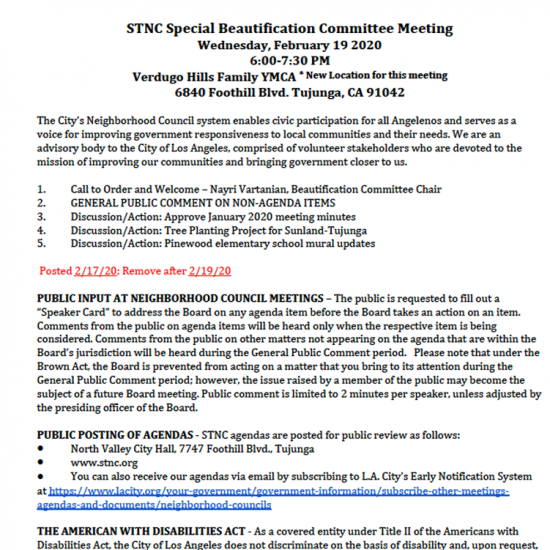 Sunland Tujunga Neighborhood Council - Special Beautifcation Committee Meeting