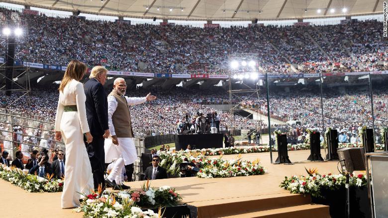 US President Donald Trump in Motera Stadium, India