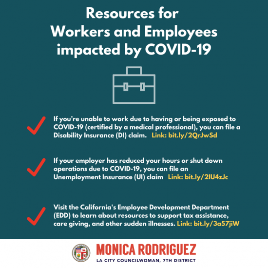 Councilwoman Monica Rodriguez Desk - Resources for Workers and Employees Impacted by COVID-19
