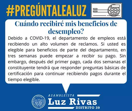 Assemblymember Luz Rivas - Cuándo recibiré mis beneficios de desempleo?