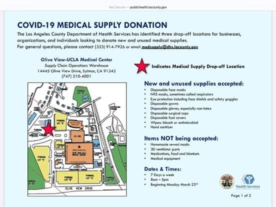 Sunland Tujunga Neighborhood Council STNC Donation Medical Equipment Drop-Off at Olive View Medical Center