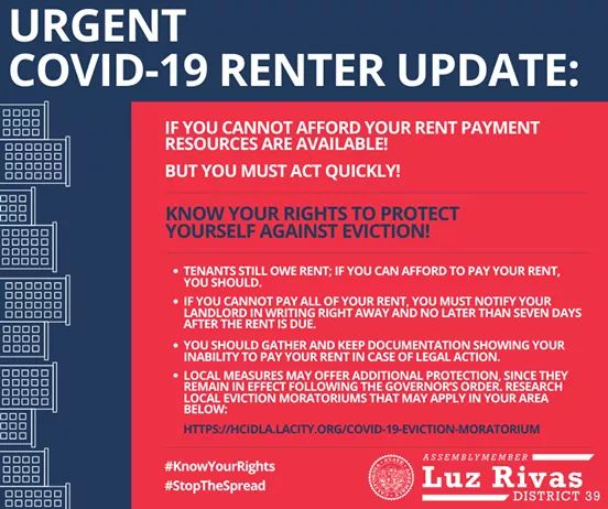 Assemblymember Luz Rivas - Clarification on COVID-19 Renter Update