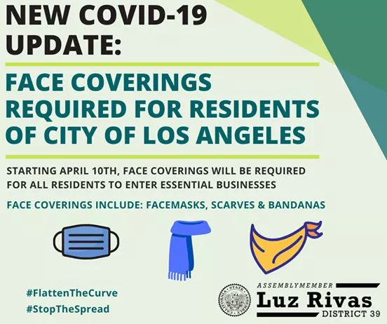 Assemblymember Luz Rivas - Face Coverings Required for Residents of City of Los Angeles