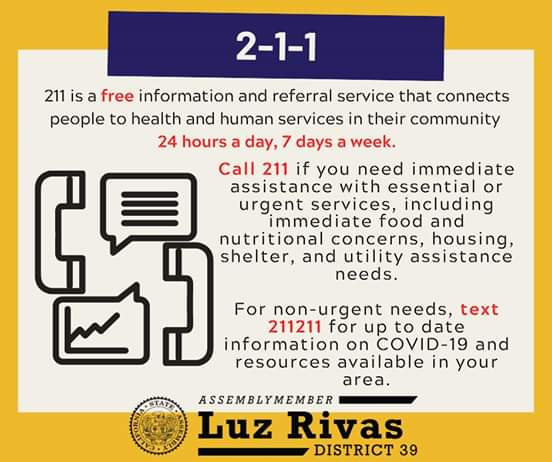 From Assemblymember Luz Rivas Desk - 211 Vital Service