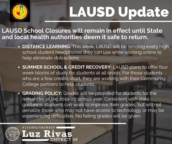 From Assemblymember Luz Rivas Desk - Los Angeles Unified School District UPDATE