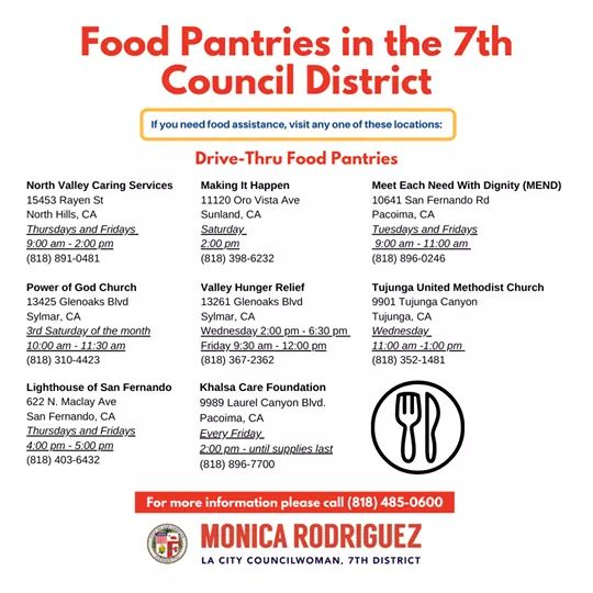 From Councilwoman Monica Rodriguez Desk -Local Food Pantries Available to the CD7 District.
