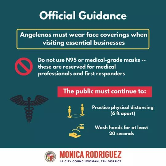 Councilwoman Monica Rodriguez - Official Guidance - Angelenos Must Wear Face Coverings