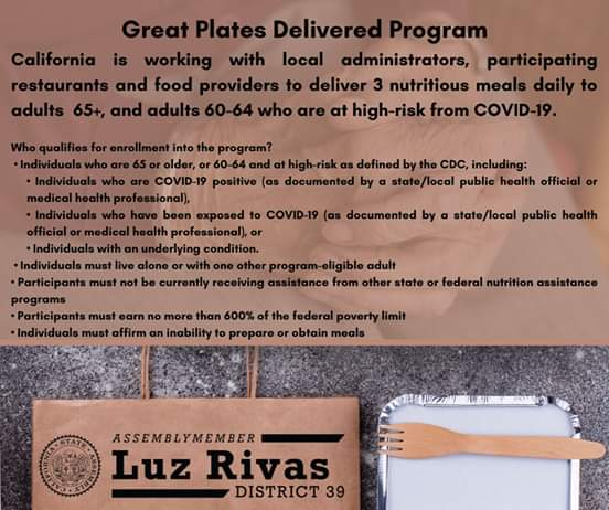 Assemblymember Luz Rivas - Great Plates Delivered Program to Provide Adults 65+