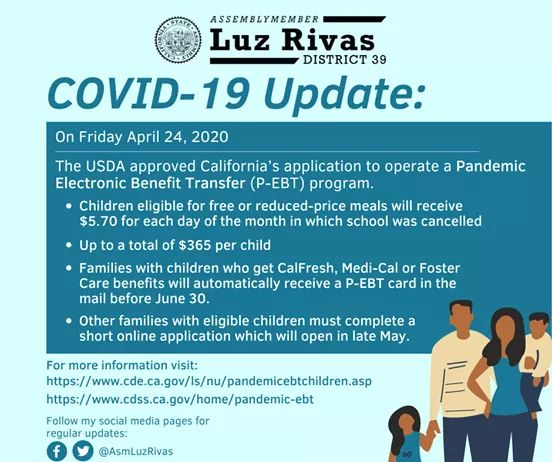 Assemblymember Luz Rivas - USDA Approved Pandemic Electronic Benefits Transfer (P-EBT) Program