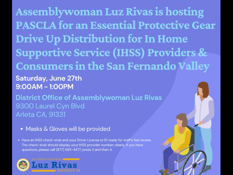 IHSS Providers - Assembleywoman Luz Rivas has free PPE