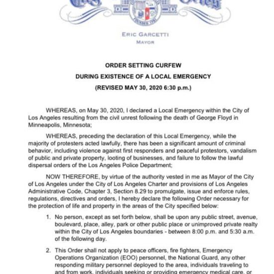 STNC - Mayor Garcetti Issued Citywide Curfew Order