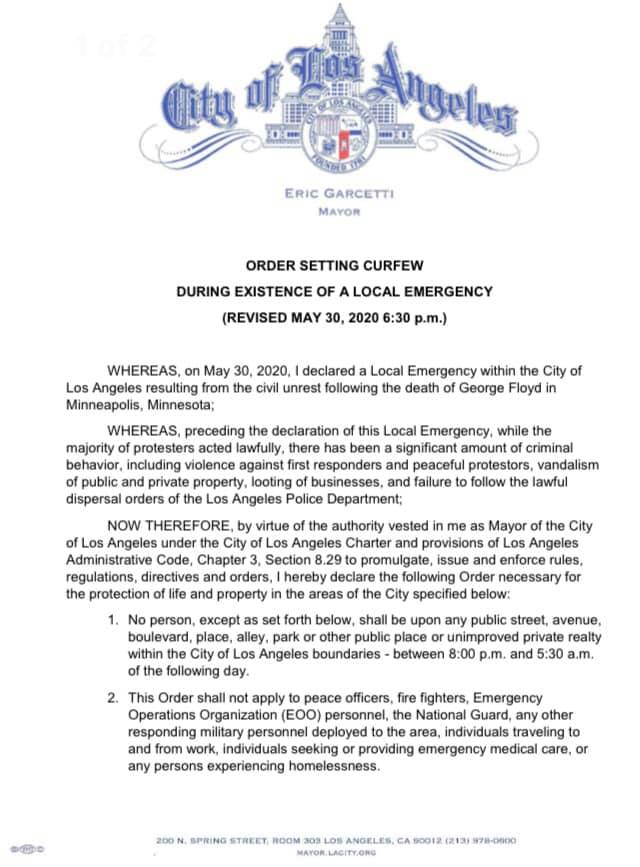 STNC - Mayor Garcetti Issued Citywide Curfew Order