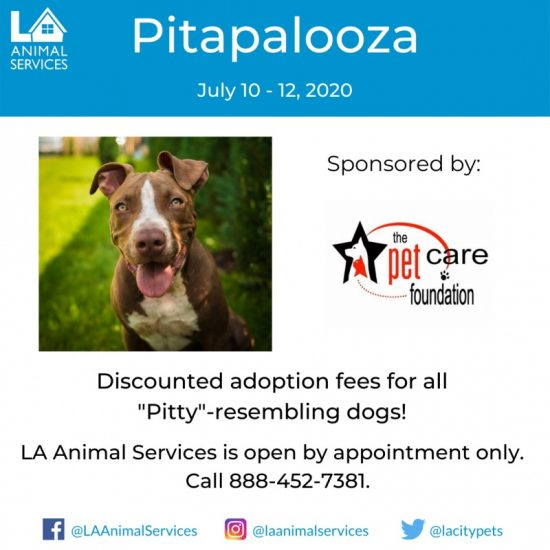L.A. Animal Services Pitapalooza July 10-12, 2020