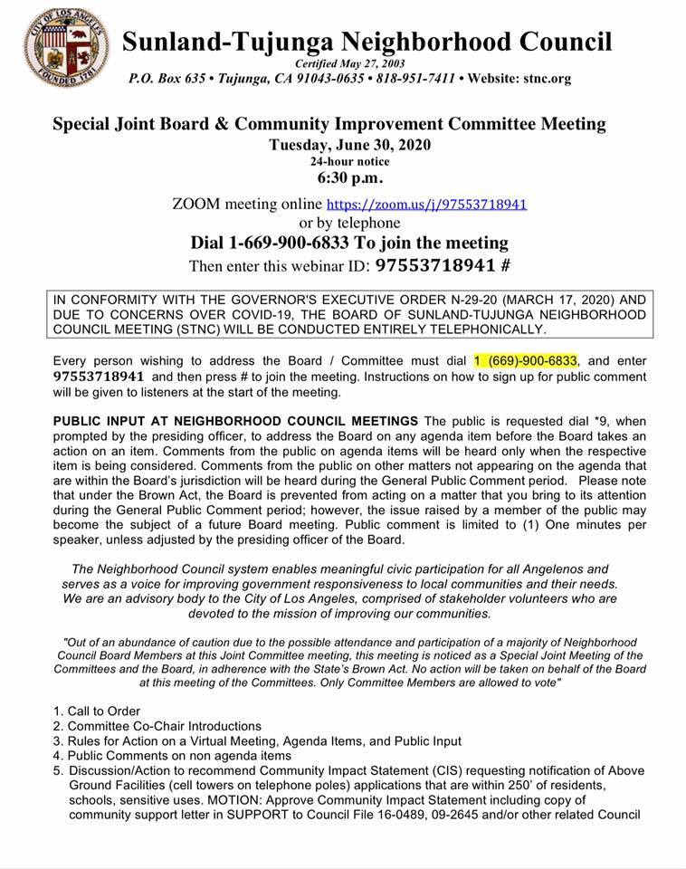 Community Improvement Committee Meeting Tonight 6/30 @ 6:30pm