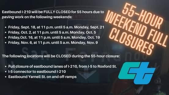 Series of 55-hour WEEKEND FULL CLOSURES
