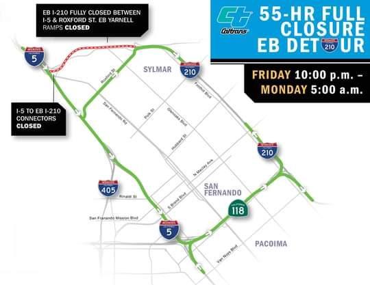 55-Hour Weekend Full Closure of Eastbound Lanes