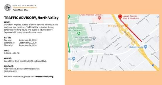 TRAFFIC ADVISORY, North Valley
