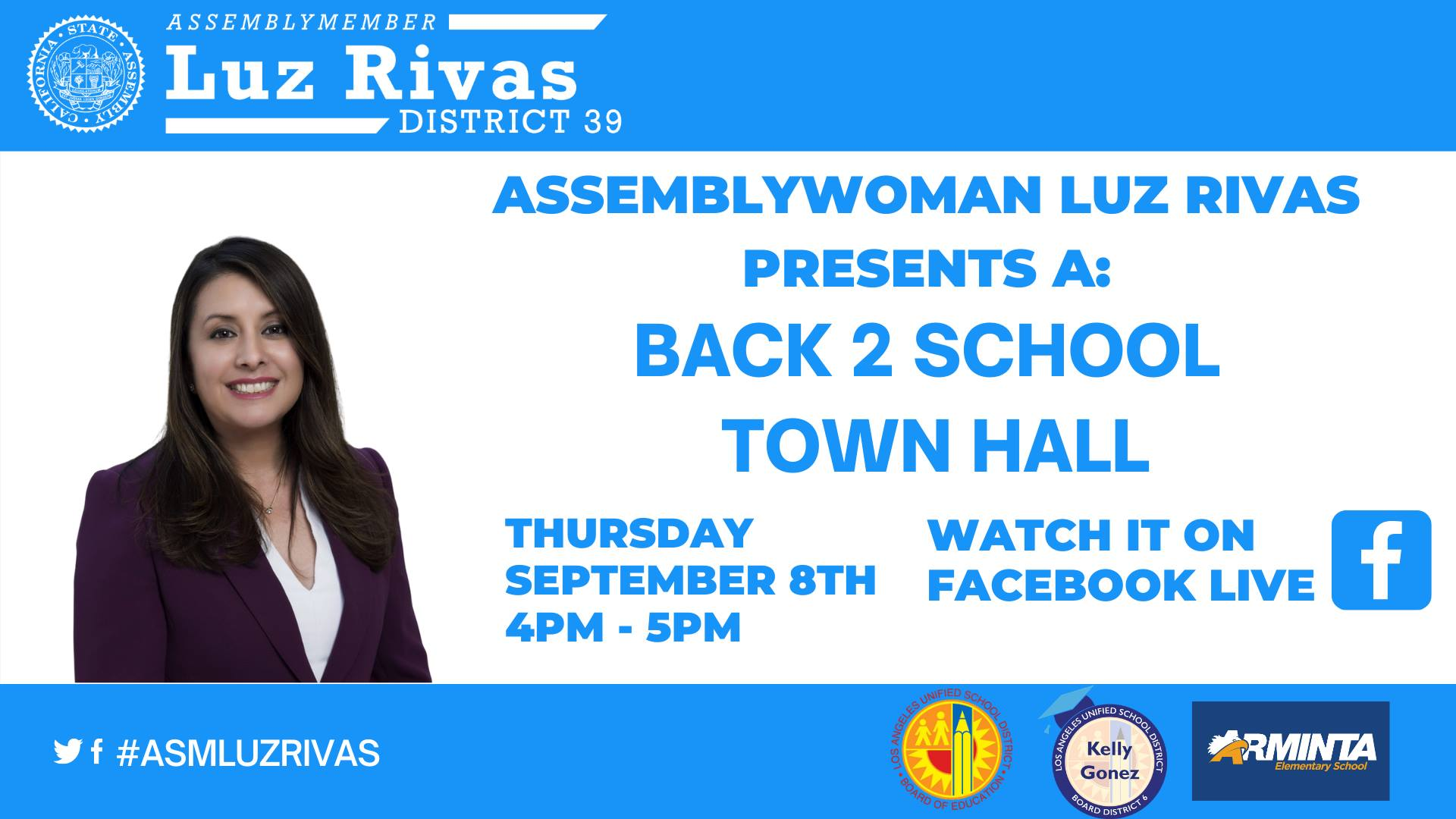 Luz Rivas Hosts Back to School Virtual Town Hall