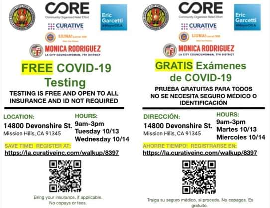Free and Walk-Up Only COVID-19 Test