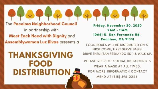 Thanksgiving Food Distribution Drive-Thru and Walk-Thru on Friday