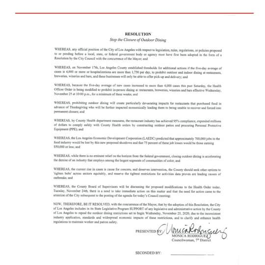 From Councilwoman Monica Rodriguez Desk -  Introduced an Emergency Resolution
