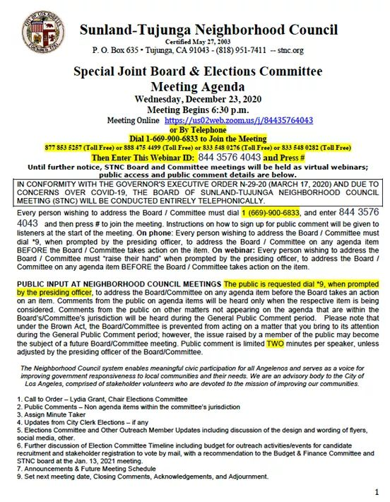 From Sunland Tujunga Neighborhood Council STNC - STNC Special Joint Board + Elections Committee