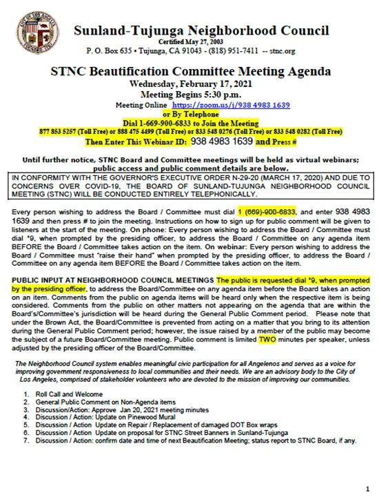 STNC Beautification Committee Meeting
