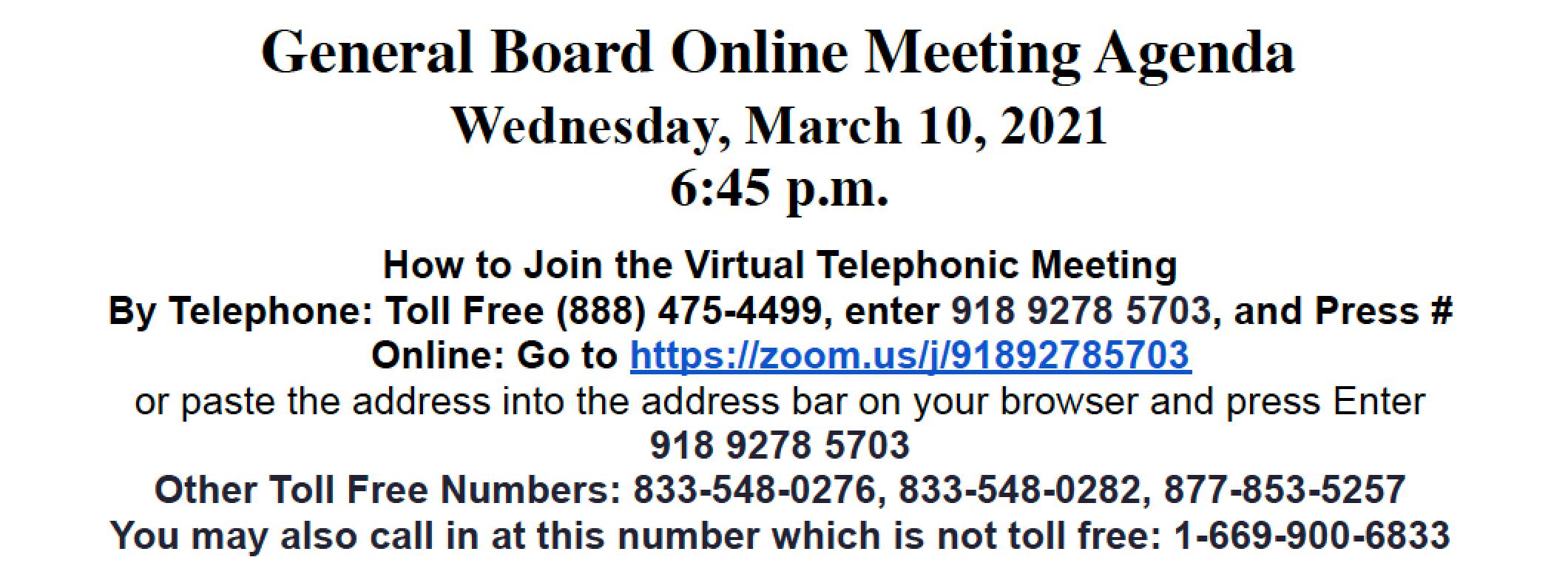 General Board Online Meeting Agenda