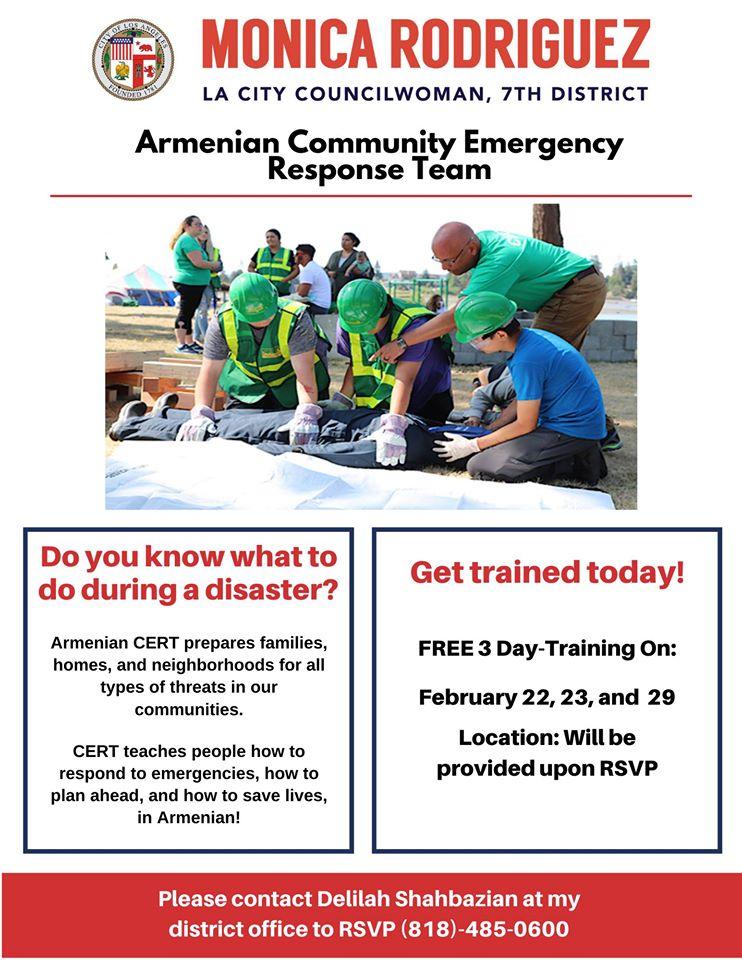 Councilwoman Monica Rodriguez - 3 Day Armenian CERT Training