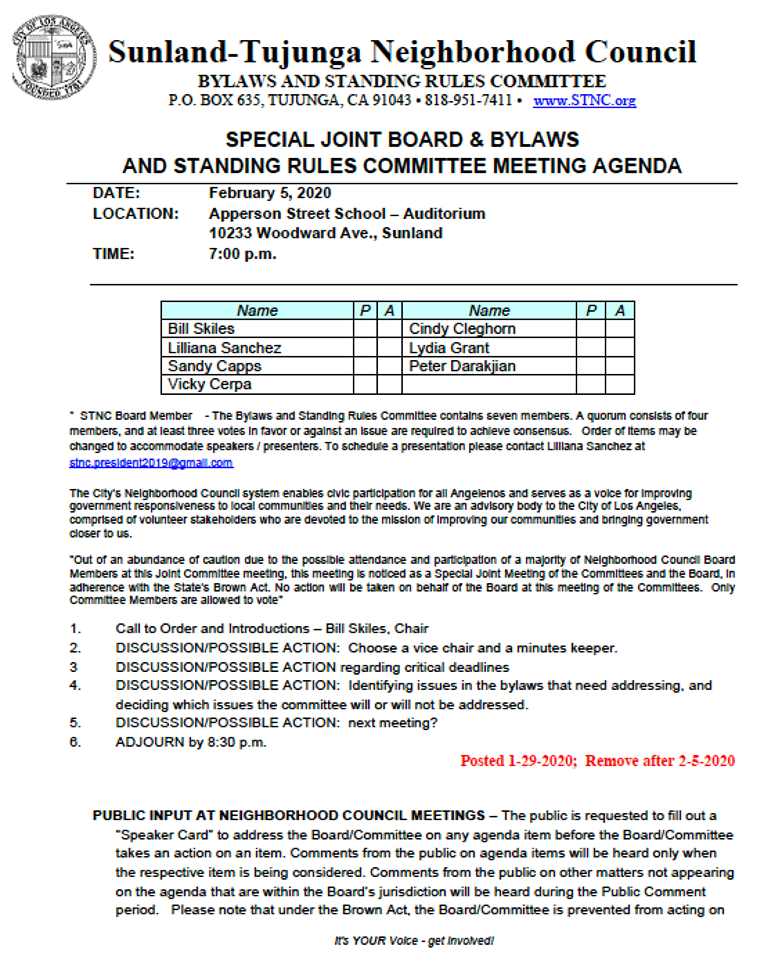 STNC - Joint Board & Bylaws & Standing Rules Committee meeting