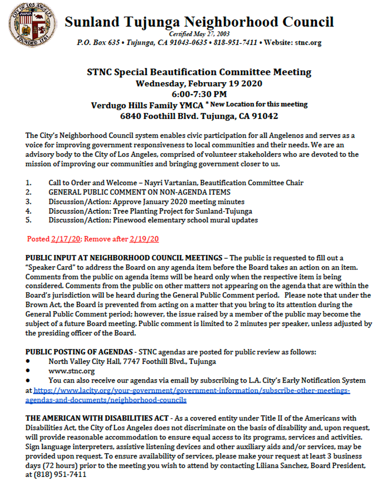Sunland Tujunga Neighborhood Council - Special Beautifcation Committee Meeting