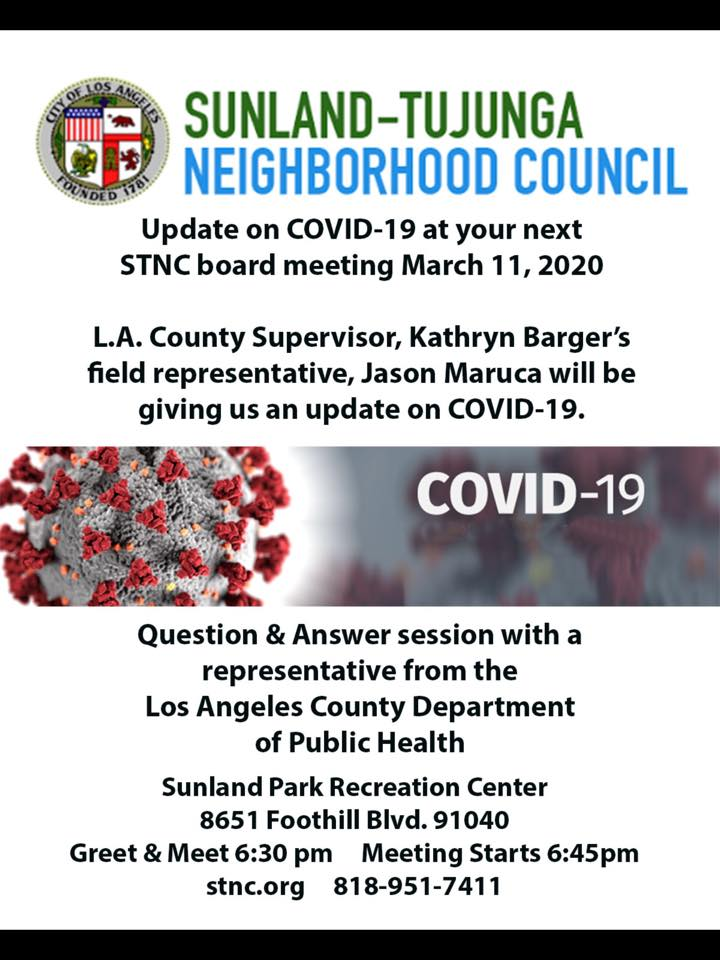 Sunland-Tujunga Neighborhood Council STNC - COVID-19 Question & Answer with the L.A. County Dept. Of Health