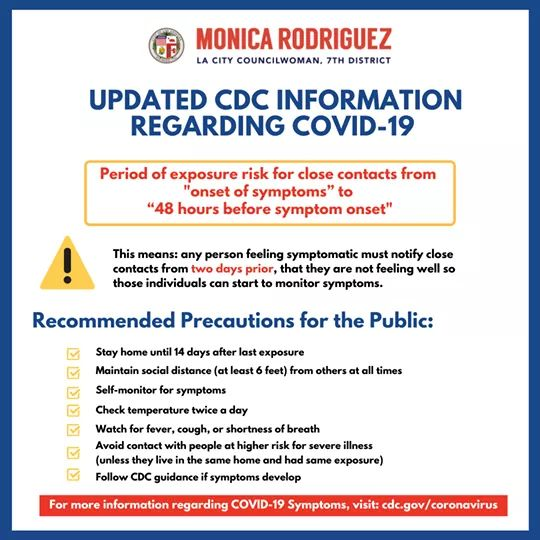 From Monica Rodriguez Desk - The Centers for Disease Control and Prevention updated the period of exposure