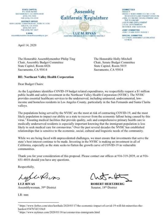 Senator Bob Hertzberg and Assemblymember Luz Rivas have Submitted a Joint Letter Requesting State Funding for NEHVC of up to $1 million