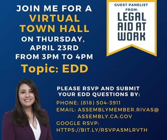 Assemblywoman Luz Rivas is Hosting a Free Virtual Townhall with Legal Aid Work