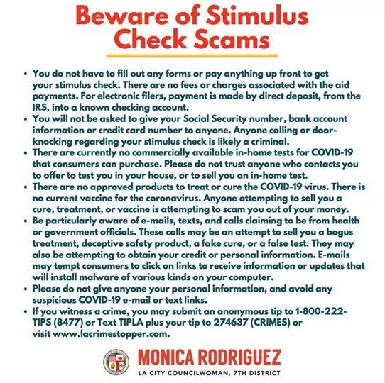 Coumcilwoman Monica Rodriguez  - Beware og Stimulus Check Scams
