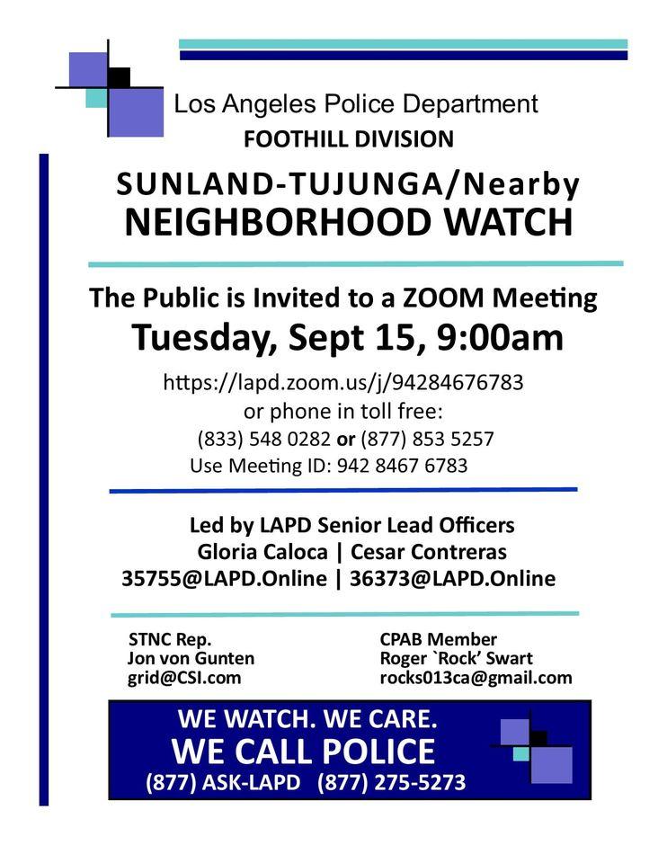 Neighborhood Watch Meeting Tuesday