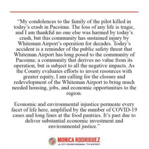 Statement in Response to the Plane Crash in Pacoima