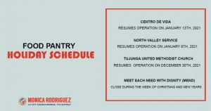 Food Pantries in CD7 will have Temporary Closures during the Holiday Season