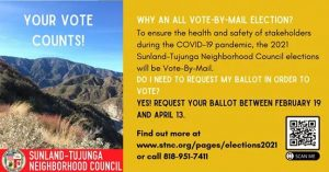 From Sunland Tujunga Neighborhood Council STNC - Vote-By-Mail