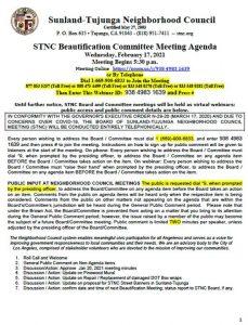 STNC Beautification Committee Meeting