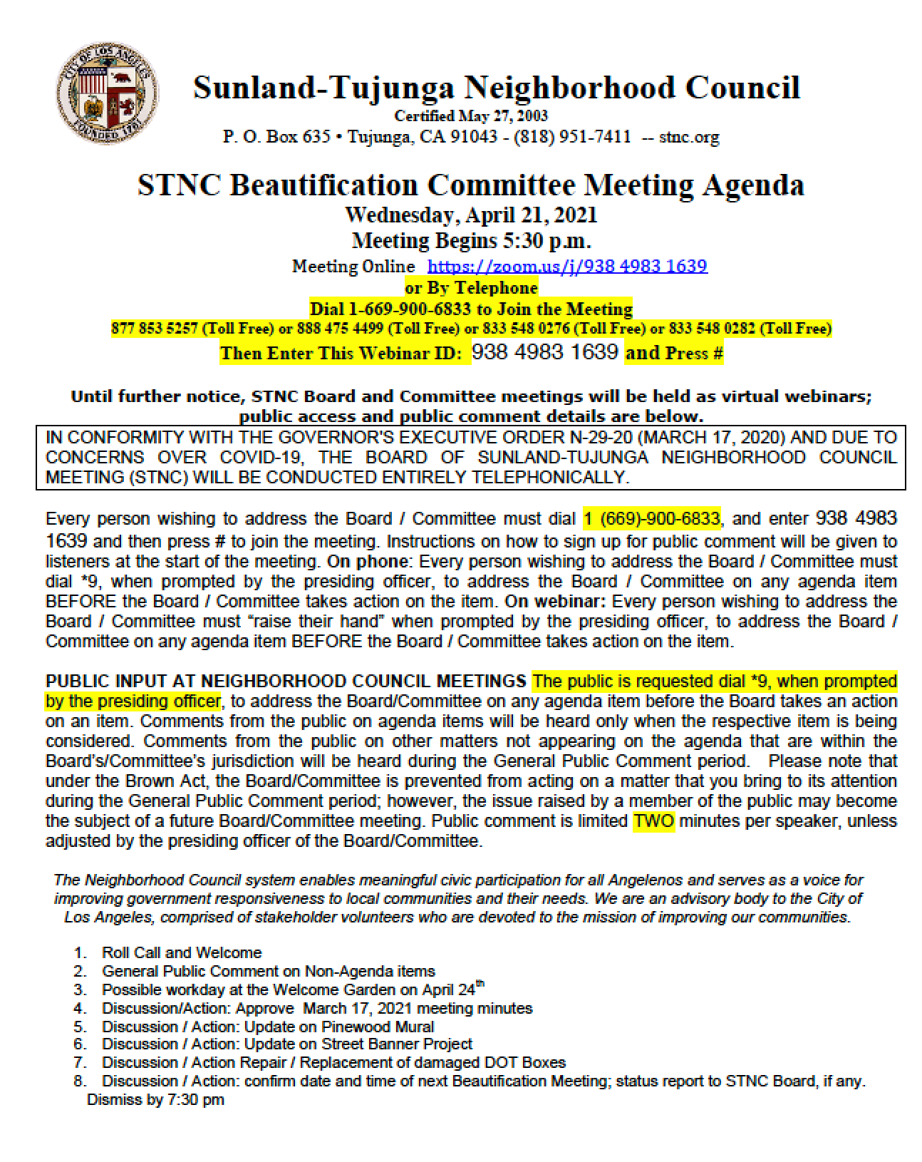 STNC Beautification Committee Meets Wednesday, April 21