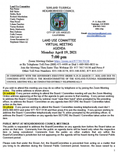 STNC Land Use Committee Meeting Monday, April 19