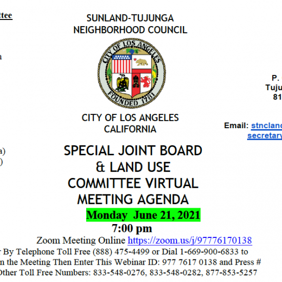 STNC Land Use Committee Meeting Tonight @ 7 PM