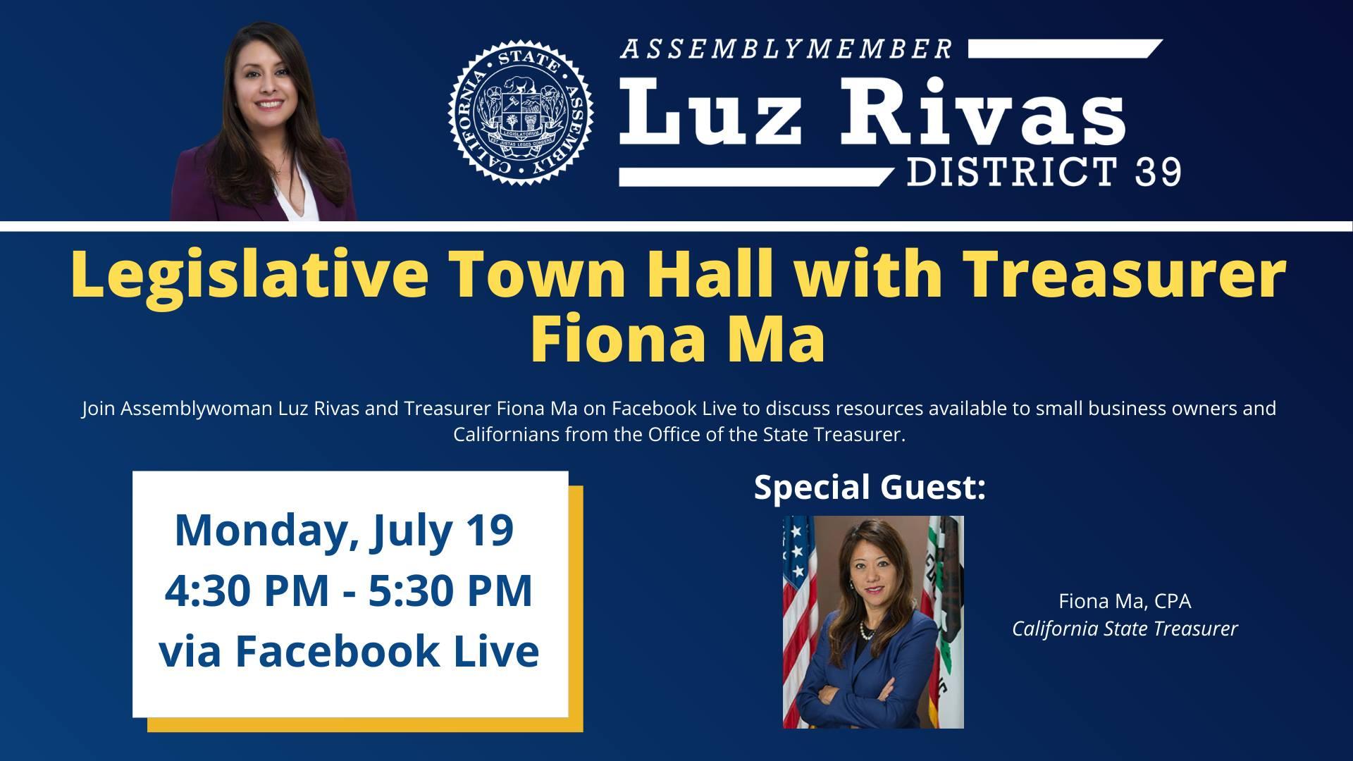 Join me and Treasurer Fiona Ma