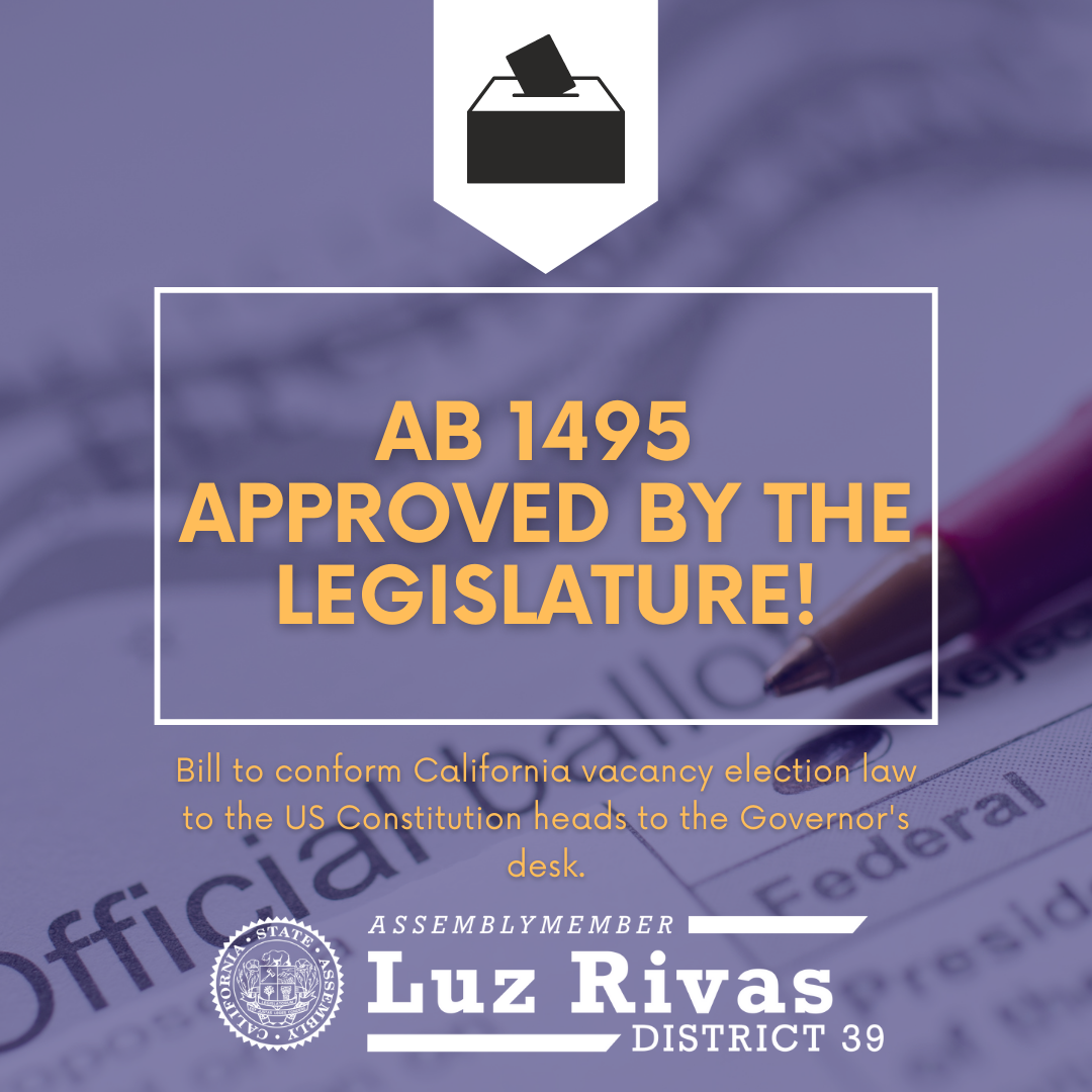 AB 1495 Approved by The Legislature