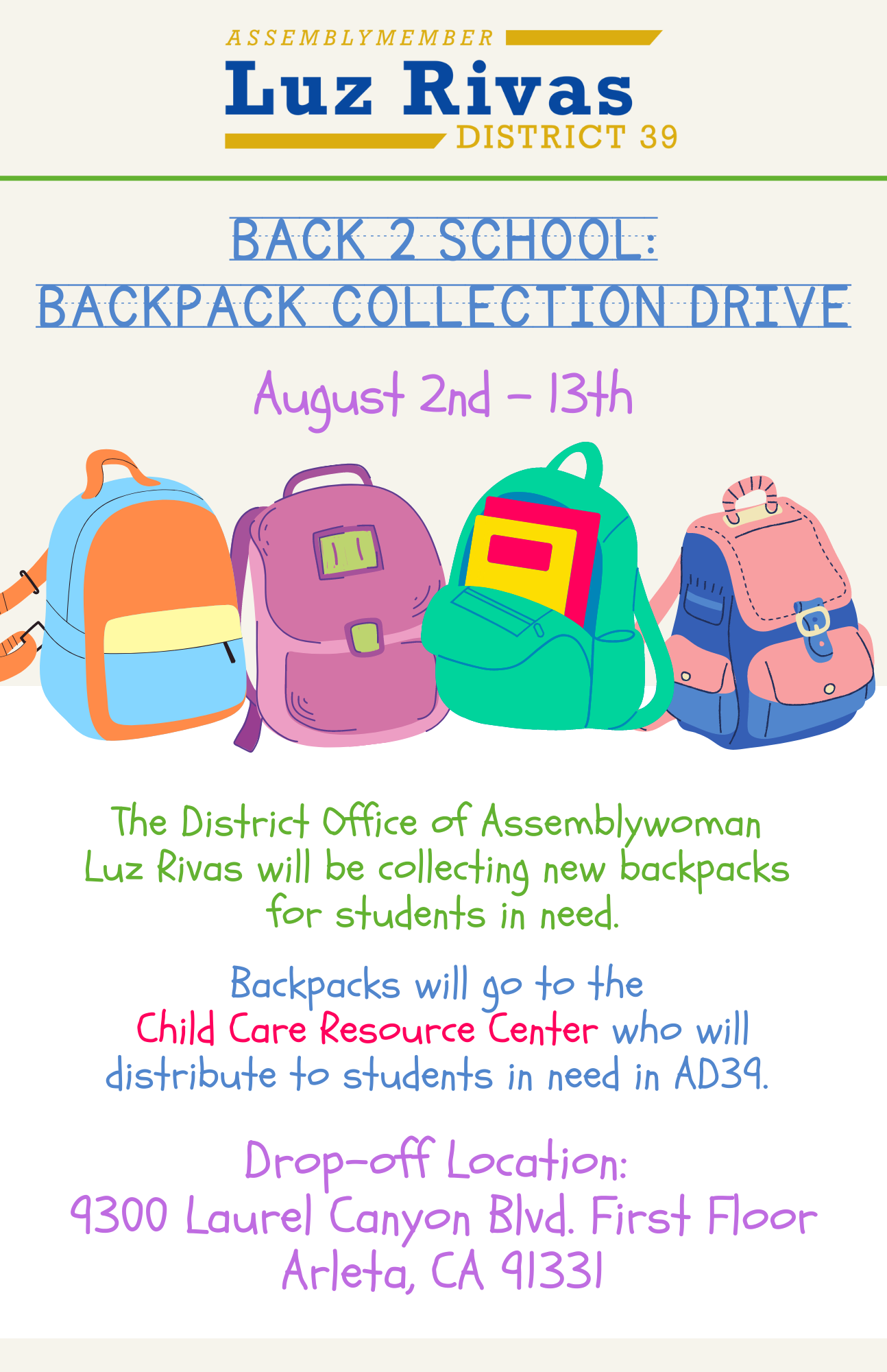 Backpack Collection Drive