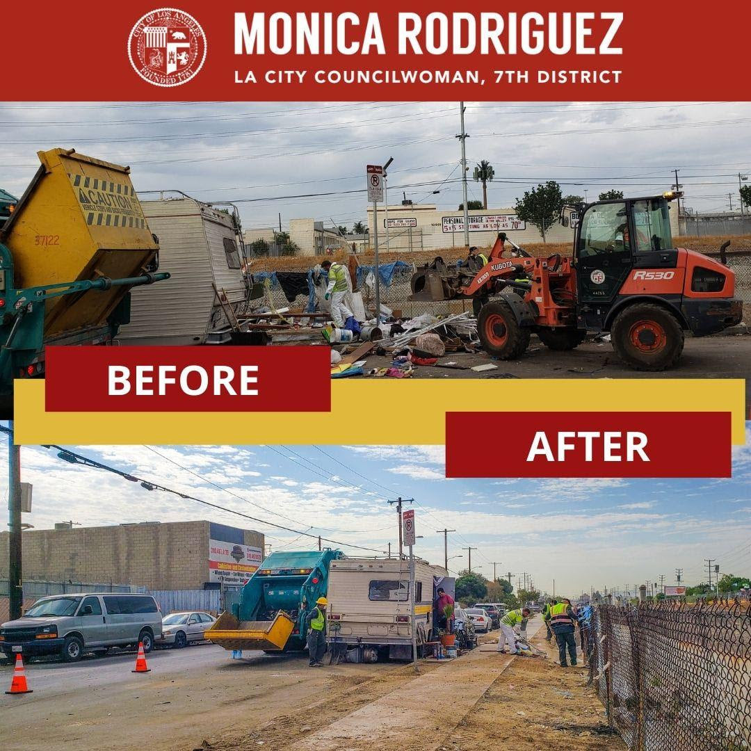 Cleanup at San Fernando Road and Montague Street